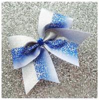 blaue haare gummibänder großhandel-2018 NEUE Blau Silber Glitter Ombre Cheer Bow Cheerleading Dance Haarschleife 7,5 inch haarschleife mit Elastischen gummiband haar zubehör 12 stücke