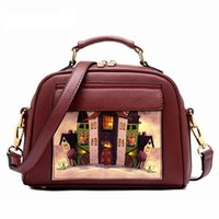 Wholesale oil picture woman for sale - Group buy Oil Picture Pattern Women Bag Fashion PU Leather Women Leather Handbag Casual Shoulder Bag Fashion Female High Quality