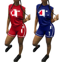 Wholesale american football jerseys wholesale - Women's Clothing Cham pion Hot Brand Summer T Shirt Tracksuits Sleeveless Two Piece Sets Pullover Crew Neck Sportswear Baseball Suits