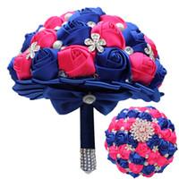 ingrosso bouquet di cristallo di cerimonia nuziale di perle blu-Personalizza 18CM Blu caldo rosa Bouquet da sposa Perla Crystal Wedding Bouquet Simulazione Rose Wedding Flower Damigella d'onore che tiene i fiori