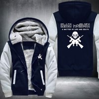 Wholesale adult fleece jacket resale online - 2018 Iron Maiden Men s Long Sleeve Jacket Adult Thicken Hoodie Zipper Jacket Sweatshirts Thicken Hoodie Coat Clothing Casual