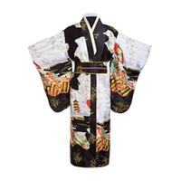 siyah japonya elbisesi toptan satış-Siyah Kadın Lady Japon Gelenek Yukata Obi Ile Obi Çiçek Vintage Akşam Elbise Cosplay Kostüm Bir boyut