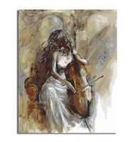 Wholesale lady painting portrait online - Beauty Lady and Cello Hand painted Impressionist Portrait Art oil painting High Quality Wall Art Home Deco On Canvas p410
