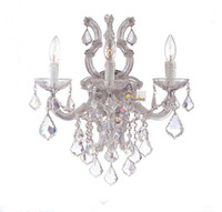 Wholesale Fabric Sconces - Maria Theresa Crystal Wall Light Lighting Modern Wall Lamp Chrome Sconce Lighting 3 Head +Free shipping!