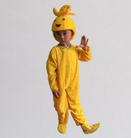 Wholesale banana clothing for sale - Group buy 2017 New style children Cosplay Banana Fruits perform Sequins clothing Boys and girls Dance Conjoined clothes long style