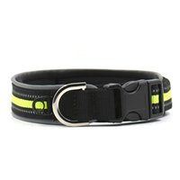 Wholesale black studded dog collar online - Adjustable Pet Dog Collar Soft Diving Material Reflective Studded Buckle Dog Collar Safe Dog Lead Size M L