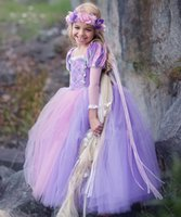 Wholesale Baby Cinderella Dresses - 2018 New gir High quality Cinderella Princess purple dress summer girl cosplay princess party dress Baby & Kids Clothing