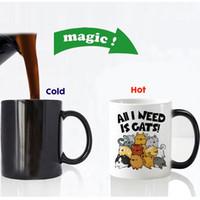 seramik sihirli bardaklar toptan satış-Ücretsiz Kargo Funny Cute Cats Renk değiştirme Seramik Kahve Kupa Çay Kupası Magic Mugs Doğum Günü Hediyesi için