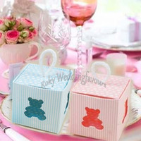 Wholesale baby bear favor boxes for sale - Group buy 100pcs x5x5cm Little Teddy Bear Square Favor Boxes Baptism Party Candy Box Christening Baby Shower Kid Birthday Party Package