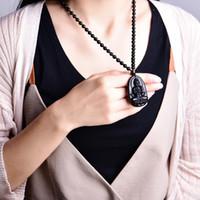 collares de piedra tallada al por mayor-Piedra de obsidiana natural tallada buda collar colgante para mujeres hombres patrón santo suerte amuleto colgantes budismo joyería