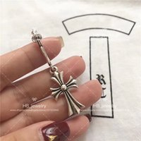 Wholesale cross gift box - Popular fashion brand 925 STERLING SILVER Cross Earrings for Women Anniversary Gift Wedding Luxury Jewelry with box