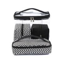 fonksiyon çantaları toptan satış-Çok fonksiyonlu Kozmetik Çantası Şeffaf PVC Taşınabilir Kombine dört parçalı takım Yıkama torbaları Seyahat çantası Kanvas çanta Almak