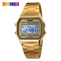 relogios de relógios de cronômetro venda por atacado-Relógios de Pulso dos homens do vintage de Ouro de Ouro Relógio de Ouro dos homens Vestido Relógios de Aço Inoxidável Alarme Digital Cronômetro Relógio Relogio masculino