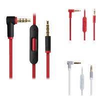 cabo de áudio macho microfone venda por atacado-Extensão 1.4 M de 3.5mm de Extensão Macho para Macho de Áudio Estéreo Fone de Ouvido Cabo de Cabo de Áudio com Controle de Volume de Microfone Para
