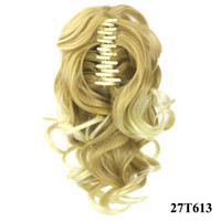 Wholesale Hair Clips For Ponytail Extensions - Ponytail claw clip hair extension Short Ponytails Curly Synthetic Hair Pony Tail Hairpiece Blonde Gray Claw Ponytail for black women
