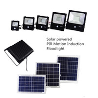 Wholesale solar panel cells online - Solar Floodlight Sensor W W W W W LM W Power Cell Panel Charge Battery Outdoor Waterproof Industrial Lamps PIR Motion Induction