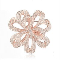 Wholesale austria crystal brooch for sale - Group buy Vintage Stylish High Quality Austria Crystals Pretty Flower Brooch Rhodium Plated Wedding Bridal Bouquet Broach Women Corsage For Party