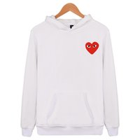 Wholesale red rounded hat for sale - Japanese famous brand fashion red heart round collar sleeve lovers with hats and men and women Hooded sweater