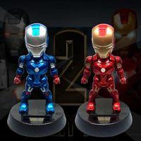 Wholesale shaking head dolls - 2 Colors 12cm Q Version Action Figure Luffy Tony Superhero Iron Man PVC Figure Solar Energy Shake Head Toy CA9647 20pcs
