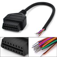 cable volvo obd2 al por mayor-Carkitsshop 30cm OBD2 16Pin Extensión Femenina Cable de Coche Abierto Herramienta de Diagnóstico cable Conector de Interfaz OBD II Convertidor Femenino