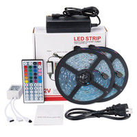 Wholesale ft power - Led Strip Lights Kit SMD 5050 32.8 Ft (10M) 300leds RGB with 44key IR Controller and 12V5A Power Supply for TV Backlighting Kitchen Cabinet