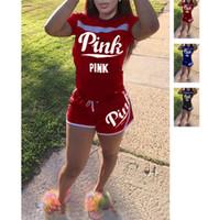 Wholesale pc fitness - Love Pink Letter Tracksuits Short Sleeve T-shirt 2 PCS Tops+Shorts Secret Pants Ladies Summer Casual Tracksuit Yoga Jogger Fitness Suit S-XL