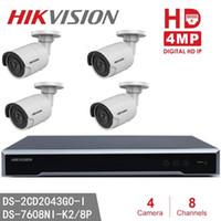 8ch ip kamera nvr großhandel-Hikvision-Überwachungskamera-System CCTV NVR DS-7608NI-K2 / 8P Eingebettete Plug Play 8CH 8POE 4pcs DS-2CD2043G0-I 4MP-Kugel-IP-Kamera