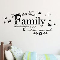 Wholesale Wall Vinyl Family Love - Family Love Never Ends Quote Vinyl Wall Decal Wall Lettering Art Words Sticker Home Decor Wedding Decoration Living Room