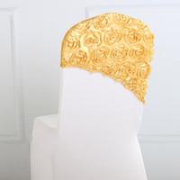 sandalyeler için çiçekler toptan satış-Zarif Gül Çiçek Sandalye Kapak Kap Sandalye Kanat Sashes Düğün Dekorasyon için Kap Kapak Sandalye Düğün Hediye 9 Renk 38 * 38 cm