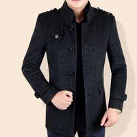 ingrosso cappotto di lana da uomo coreano-Giacche invernali Uomo Giacca in lana Plus Size Uomo Soprabito in pannoWinter Long Coat Uomo coreano