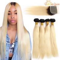виргинские волосы 613 оптовых-1b 613 Пучки прямых волос с закрытием шнурка 4x4 Блондинка девственница человеческие волосы темные корни