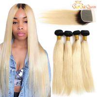 koyu kökler sarışın insan saçları toptan satış-1b 613 Düz Saç Demetleri ile 4x4 Dantel Kapatma Sarışın virgin İnsan Saç Uzantıları Koyu Kökleri