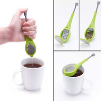 Wholesale wood presses - Durable 18*4cm Tea Infuser Gadget Press Food Grade Silicone Empty Teabags Strainers Herb Tea Infusers Filters
