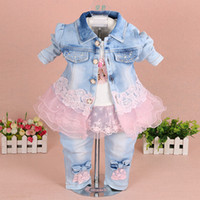 Wholesale girls denim shirts - 2017 spring baby girls clothing set 3 pcs set denim jacket + T shirt +pants baby girl clothes princess kids clothes sets