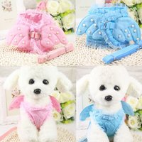 Wholesale large wings costume - Pet Safety Walking dog Vest Harness Lead Leash Angel Wings Costume Lace Peals Design Angel Pet Dog vest Leashes For Cat & Dog