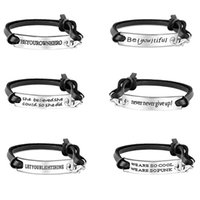 Wholesale leather braided bracelet bangle cross - 6 style Inspirational word charms bracelets mens Black Leather braided Rope bracelet simple lettering bangle For women Fashion Jewelry Gifts