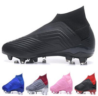 Wholesale shoelace new for sale - No laces new mens Predator Falcon football training Sneakers Top Waterproof FG shoelace studded cleated boots Camping Hiking Boots