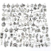 mini takılar toptan satış-Mix Charms 120 adet Vintage Antik Gümüş Mini Hayat Alaşım Kolye DIY Takı Yapımı