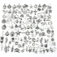 ingrosso fascini in lega-Mix Charms 120pcs Vintage argento antico Mini vita lega ciondolo gioielli fai da te