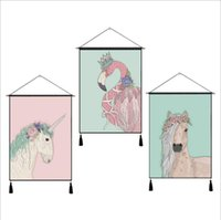 Wholesale Scroll Wall Hangings - Cartoon Hanging Scroll Paintings with Macrame Linen Made Art Wall Decorative Tapestry with Cute Unicorn Horse Flamigo Animals
