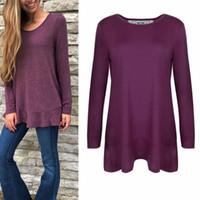 Wholesale Tunic Tops Ruffles - Fashion Women Long Sleeve Layered Irregular Hem Tunic Tops Ruffle Lace Back Shirts Fall Winter Blouse Clothing