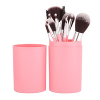kit de pincel de maquillaje taza al por mayor-Nuevo 12 Unids / set Eye Shadow Foundation Eyebrow Lip Brush cosméticos Pinceles de Maquillaje Herramienta de Cuero Titular de la Caja Kit Kit D1