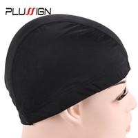 ingrosso nastri di spandex neri-1PC economici buoni cappucci della cupola della maglia dell'elastam per fare retine per capelli nere del nylon di Snood Strech Glueless con la banda elastica per