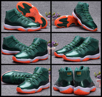 Wholesale Eva Balls - 11 Miami Hurricanes Womens Mens Basketball Shoes Sneakers For Men Women 11 11s Green Orange Basket Ball Sports Trainers US 5.5 - 13
