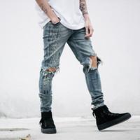 Wholesale Free Designer Clothes - Fashion Men Designer Clothes Denim Jumpsuit Jean Pants Blue Korean Rock Stretch Moto Distressed Ripped Skinny Men Hole Jeans 28-40