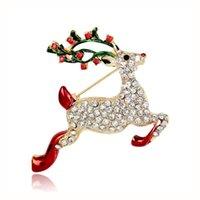 bijoux sika achat en gros de-Noël série broche bijoux chaud nouveau sika cerf broche haute qualité alliage de strass couple fête cadeau de noël