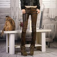 lederhose bootcut großhandel-Split Leder Push Up Jeans weibliche Frühling Herbst Nähen Streifen schwarze Frau Bleistift Hose Slim Bootcut Mode weibliche Hosen
