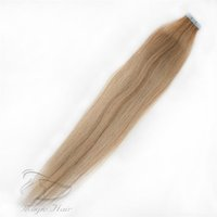 Wholesale taping hair extensions resale online - Human Virgin Hair Extensions PU Tape Remy Full Head Balayage Color Skin Weft Vrigin Hair g Hair Extensions