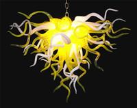 plafones amarillos al por mayor-Borosilicato amarillo y blanco Fancy Lámpara de techo Diseño Bombillas Led Dale Chihully estilo europeo Lámparas de araña de cristal de Murano