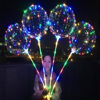 Wholesale pa lights - 300pcs Bobo Ball LED Line With Stick Wave Ball 3M String Balloon Light Up For Christmas Halloween Wedding Birthday Home Party Decoration